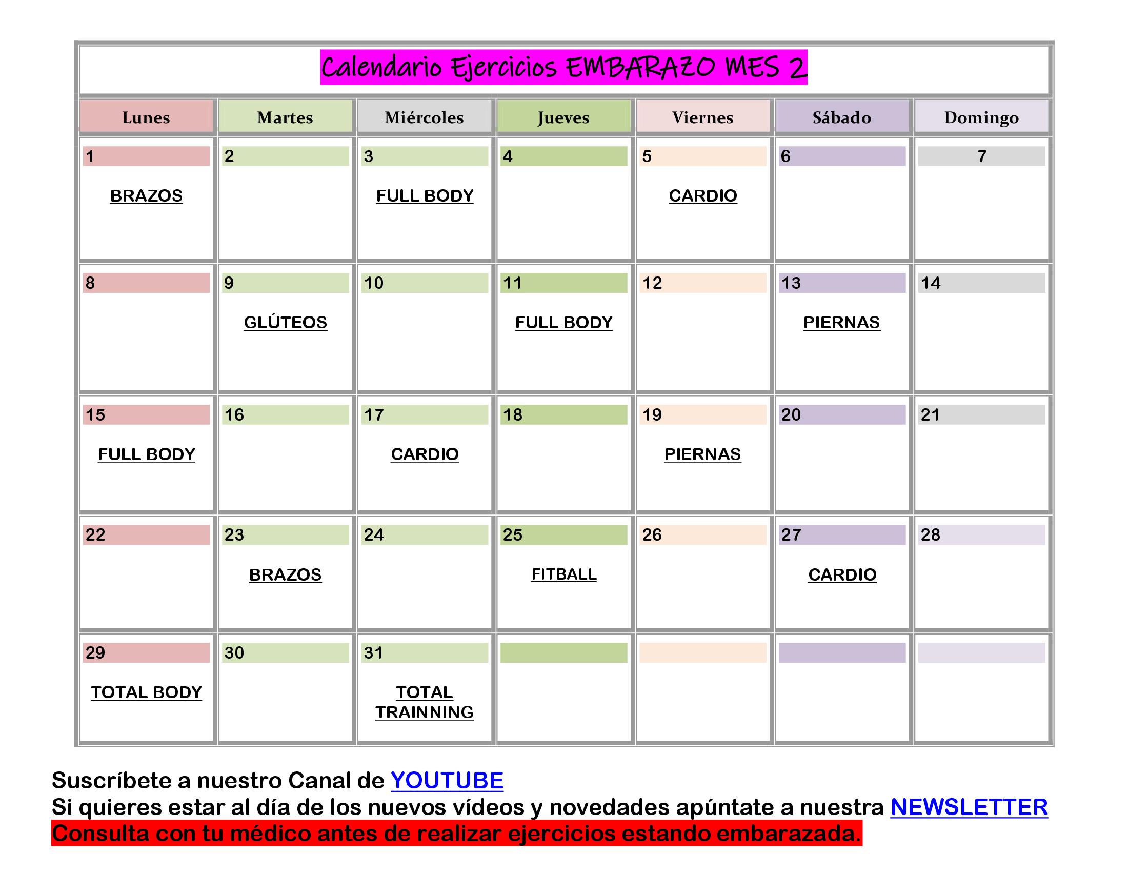 calendario ejercicios para embarazadas