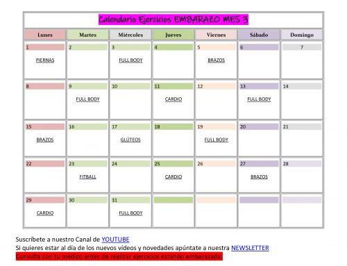 Calendario de Ejercicios para EMBARAZADA MES 3