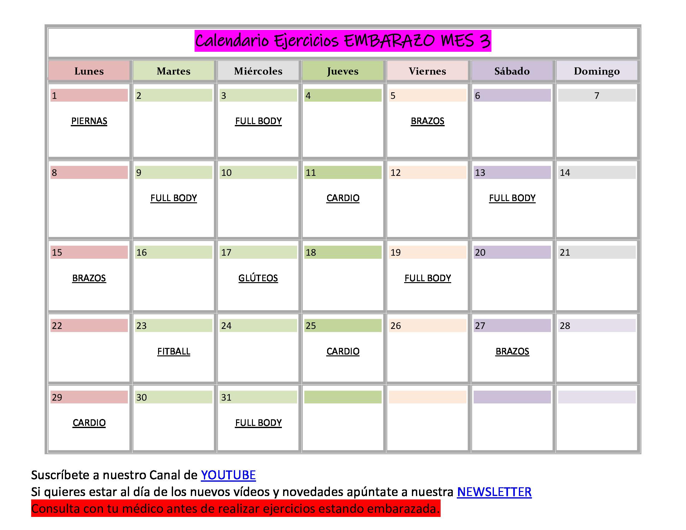 calendario mes 3 embarazo
