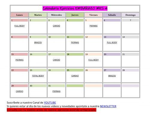 Calendario de Ejercicios para EMBARAZADA MES 4
