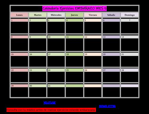 Calendario de Ejercicios para EMBARAZADA MES 5